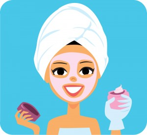 Royalty-free (RF) Clipart Illustration of a Woman Applying A Pin